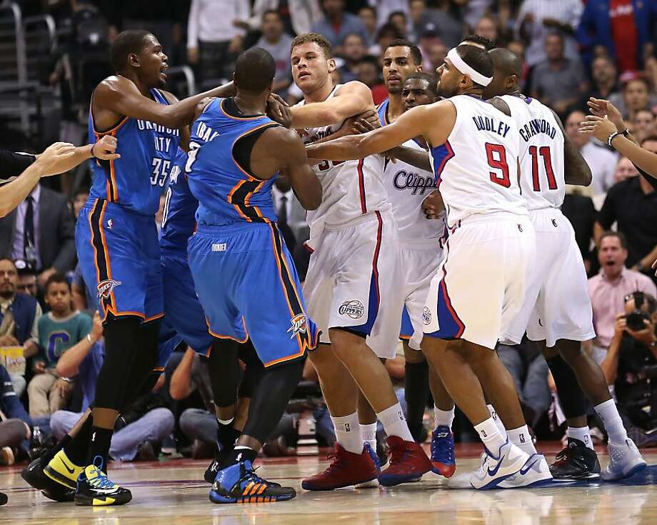 Serge Ibaka (second from left) and Blake Griffin are at the center of a first-half fight between the Thunder and Clippers. Photo: Stephen Dunn, Getty Images