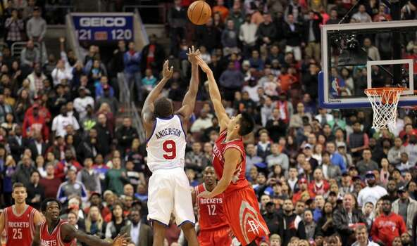 Nov. 13: 76ers 123, Rockets 117 (OT)  With James Harden on the bench, the Rockets couldn't pull off their second straight OT victory.  Record: 5-4 Photo: Yong Kim, McClatchy-Tribune News Service