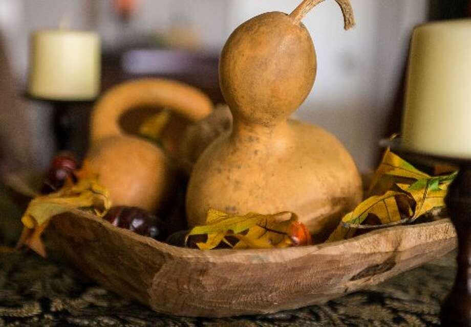 Christine Sykes likes a more minimal approach to her pumpkin and gourd decor. This is her gourd centerpiece. Photo: Courtesy Photo