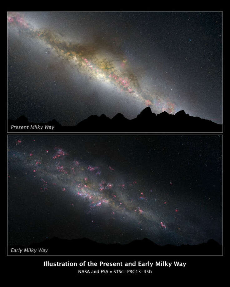"What a difference 11 billion years makes, as can be seen in these two comparative views of our Milky Way galaxy. The top view shows how our galaxy looks today; the bottom view, how it appeared in the remote past. This photo illustration is based on a Hubble Space Telescope survey of evolving Milky Way-type galaxies.  [Top View] — The current night sky is dominated by the white glow of myriad middle-aged stars along the lane of the Milky Way. Interstellar ""pollution"" from thick dust lanes can be seen threading through the long band of stars. They are interspersed with a few pinkish emission nebulae from ongoing star formation. Thousands of stars appear as pinpoints of light throughout the sky.  [Bottom View] — This is an imaginary view of our young Milky Way as it may have appeared 11 billion years ago, as seen from the surface of a hypothetical planet. The night sky looks markedly different than the view today. The Milky Way's disk and central bulge of stars are smaller and dimmer because the galaxy is in an early phase of construction. The heavens are ablaze with a firestorm of new star formation, seen in the pinkish nebulae glowing from stars still wrapped inside their natal cocoons. The handful of stars visible in the night sky are blue and bright because they are young.  The graphic of today's Milky Way was based on an all-sky image from Axel Mellinger and the Finkbeiner all-sky H-alpha survey. The illustration of the early Milky Way was constructed from the all-sky image from Axel Mellinger and Robert Gendler's image of the M33 galaxy."