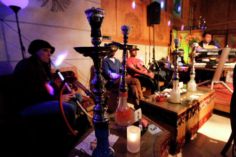 Hookah pipes at Naara Cafe, 9329 Wurzbach Rd., on Tuesday, Nov. 12, 2013.  MARVIN PFEIFFER/ mpfeiffer@express-news.net Photo: MARVIN PFEIFFER, Marvin Pfeiffer/ Express-News / Express-News 2013