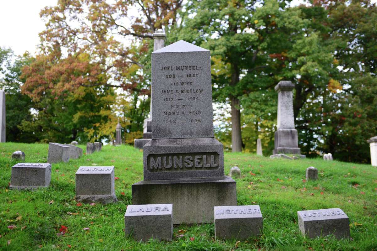 Joel Munsell was a respected and prosperous publisher of newspapers and books. His grave is in Lot 47, Section 4, just up the hill from the cemetery?s office on South Ridge Road. (Will Waldron/Times Union)