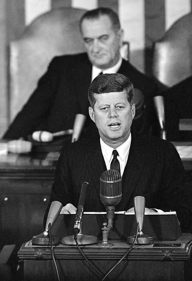 President John F. Kennedy speaks to Congress on Jan. 14, 1963, with Vice President Lyndon Johnson behind him. Photo: Associated Press