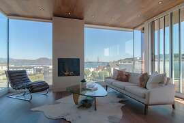 The top-floor pentroom looks at the Marin Headlands, San Francisco Bay and the Golden Gate Bridge.