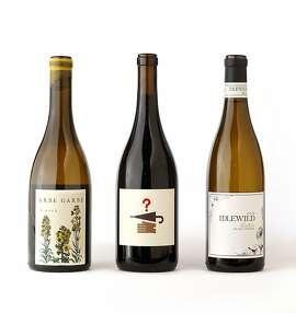 Left-right: 2012 Arbe Garbe White Wine, 2011 Lost & Found Pinot Noir, 2012 Idlewild Fox Hill Vineyard Corteseas seen in San Francisco, California on Wednesday November 13, 2013.