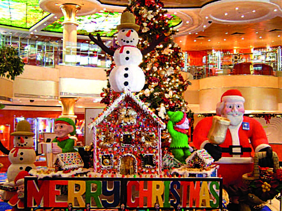 A gingerbread village vignette decorates a Norwegian Cruise Line ship for a holiday excursion. Photo: Norwegian Cruise Line