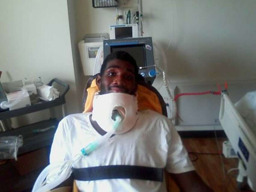 Adeujuan Adams, 15, of Rensselaer, seen here in a photo taken recently at the Shepard Center in Atlanta, where he is undergoing therapy after a May 25 stabbing in Albany nearly severed his spinal cord. (Provided by Albany County District Attorney's Office)