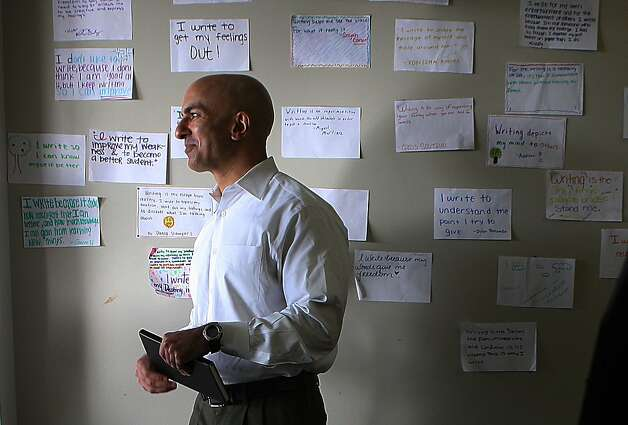 Neel Kashkari visits a sophomore trigonometry class at Eastside College Preparatory School in East Palo Alto. Photo: Liz Hafalia, The Chronicle