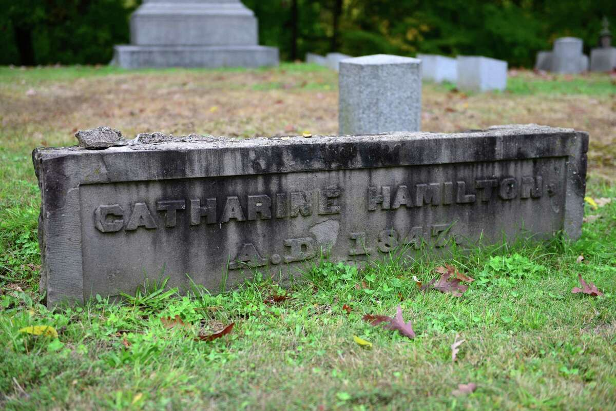 All that remains of Catharine Hamilton?s burial vault at Albany Rural Cemetery. (Will Waldron/Times Union)
