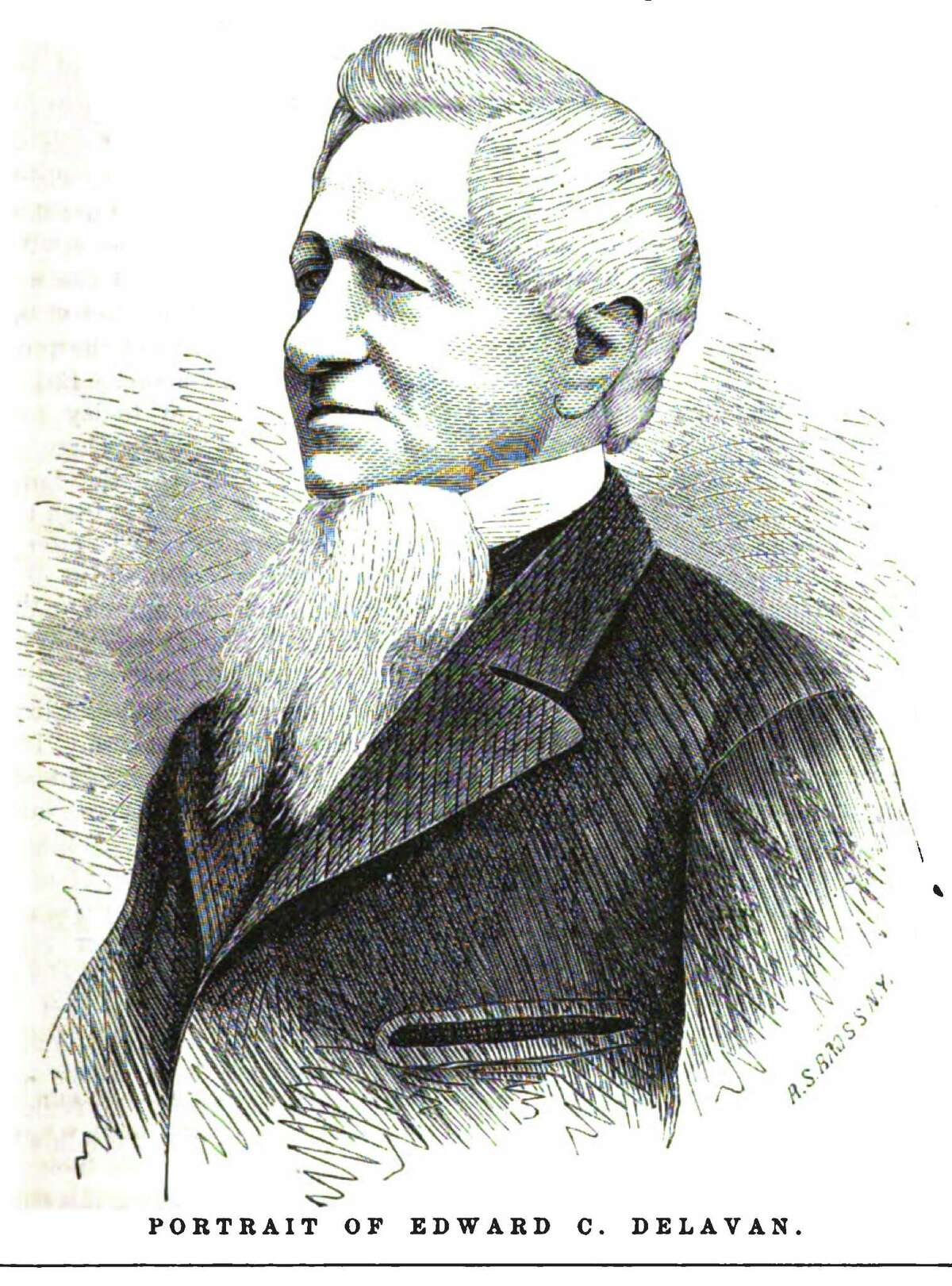 """An illustration of Edward C. Delavan that accompanied the article """"Edward C. Delavan, The Eminent Temperance Advocate"""" in the April 1871 issue of the Phrenological Journal."""