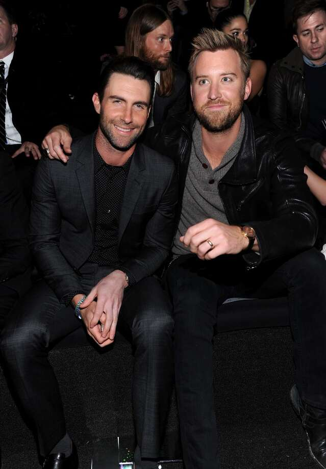 Adam Levine and Charles Kelley attend the 2013 Victoria's Secret Fashion Show at Lexington Avenue Armory on November 13, 2013 in New York City.  (Photo by Dimitrios Kambouris/Getty Images for Victoria's Secret) Photo: Dimitrios Kambouris, Getty Images For Victoria's Secr