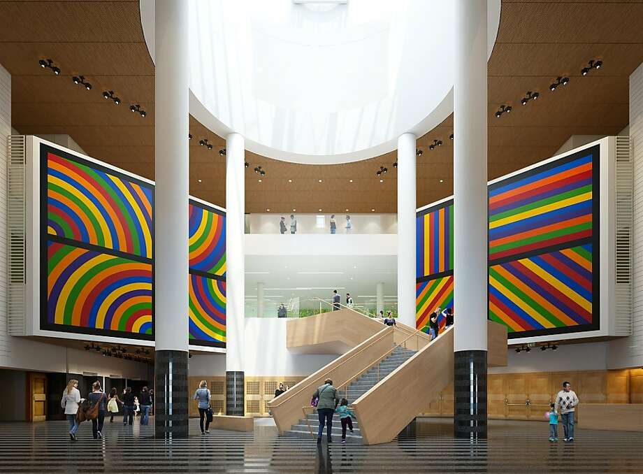 A rendering shows stairs that will link the original atrium to the new area. Photo: Snøhetta/Steelblue, SFMOMA