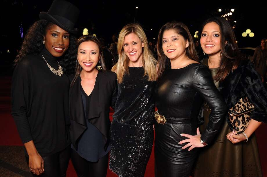 From left: Dee Brown, Lily Jang, Courtney Zabowski, Marcy de Luna and Rekha Muddaraj on the red carpet at Fashion Houston at the Wortham Theater Wednesday Nov.13. Photo: Dave Rossman, For The Houston Chronicle