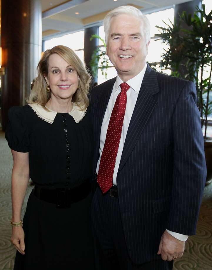 Carrin Patman left, and Layne Kruse right, during the Texas Defender Service's Light of Justice luncheon at the Hilton Americas-Houston Tuesday, Nov. 12, 2013, in Houston.  ( James Nielsen / Houston Chronicle ) Photo: James Nielsen, Houston Chronicle