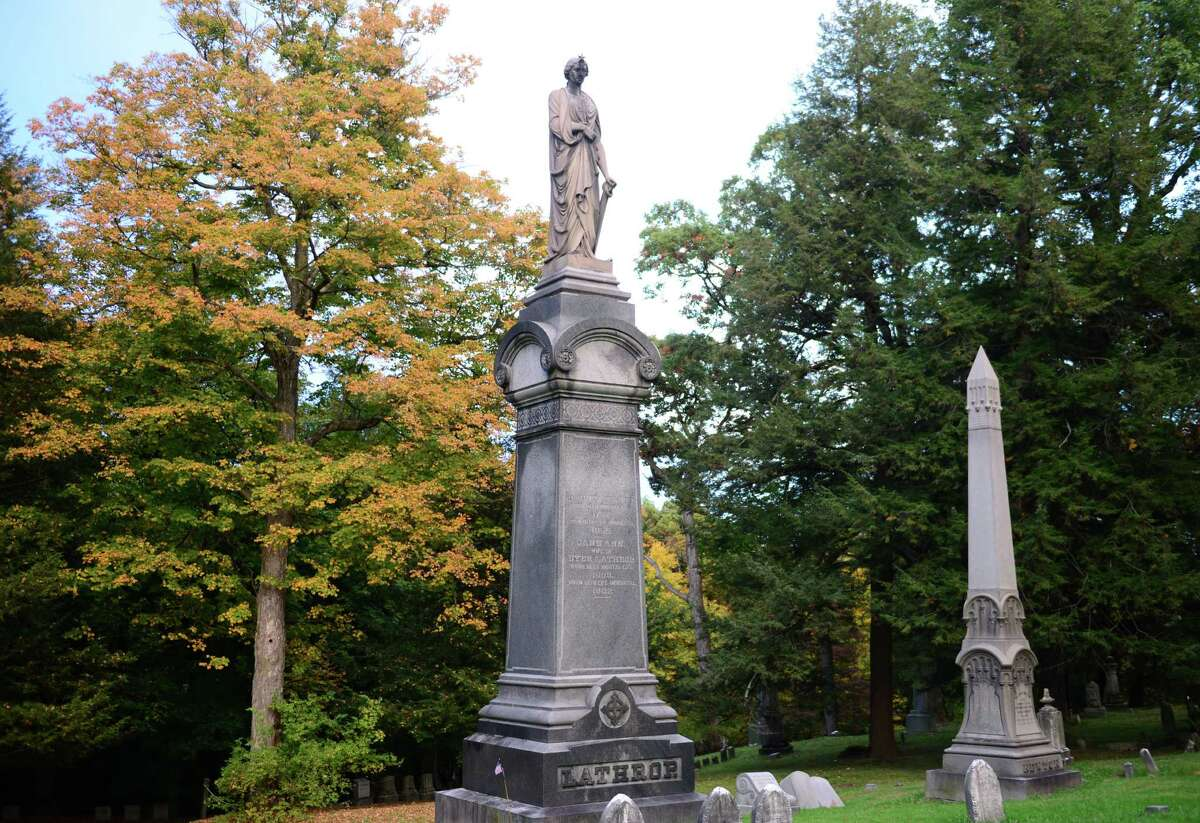 The monument to merchant and philanthropist Dyer Lathrop is the largest in Albany Rural Cemetery. The more-than-30-foot granite obelisk honors the first treasurer of the Albany Orphan Asylum. (Will Waldron/Times Union)