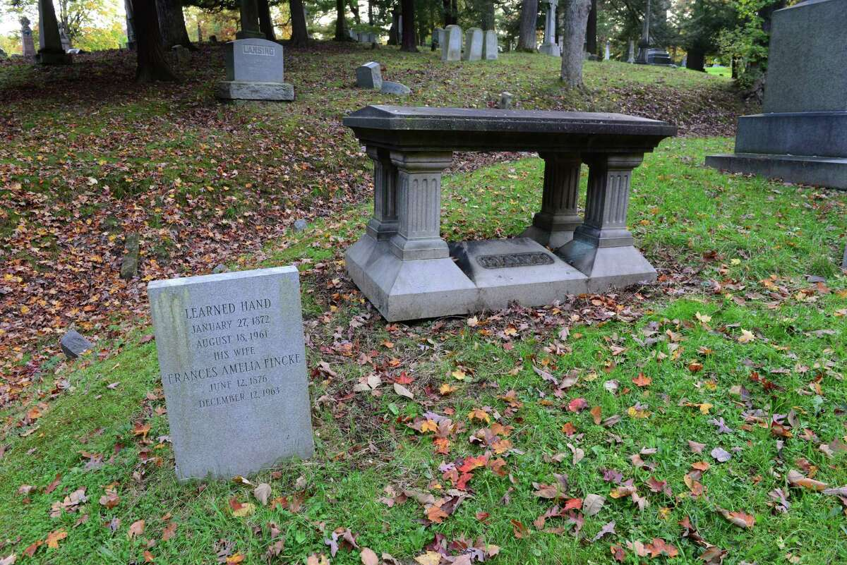 Learned Hand, U.S. judge and judicial philosopher, is buried in a family plot with his wife, Frances Fincke, in Albany Rural Cemetery.