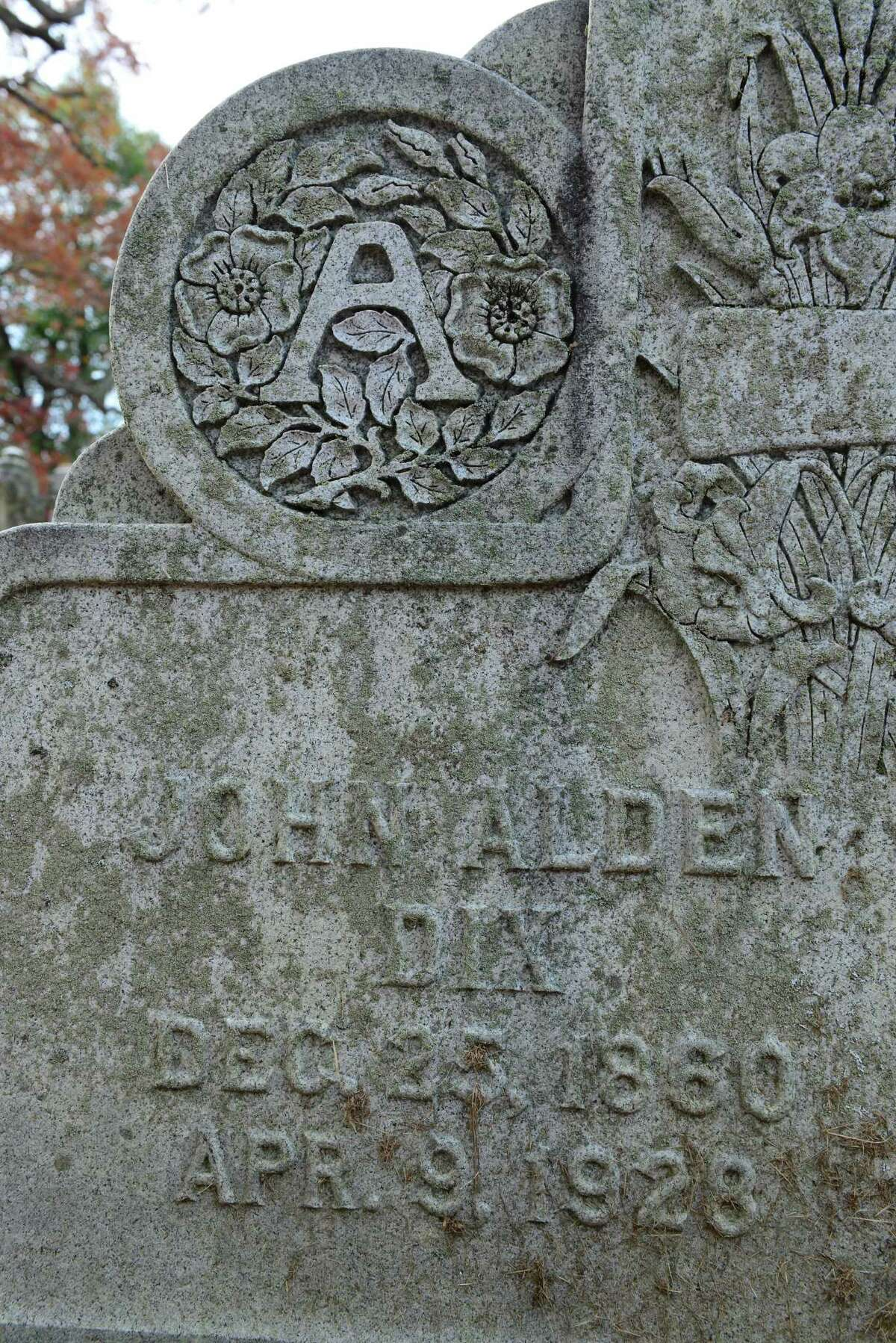 The headstone of John Alden Dix in section 41 of Albany Rural Cemetery in Menands, N.Y. Dix was a former governor of New York. Dix Range in the Adirondacks is named after him. (Will Waldron/Times Union)