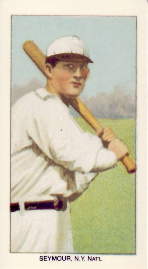 "James Bentley ?Cy? Seymour (1878-1919) 1909-1911 T206 White Border tobacco card produced by the American Tobacco Trust. Pulled with permission from ""The T206 Collection: The Players & Their Stories"" by Tom and Ellen Zappala."