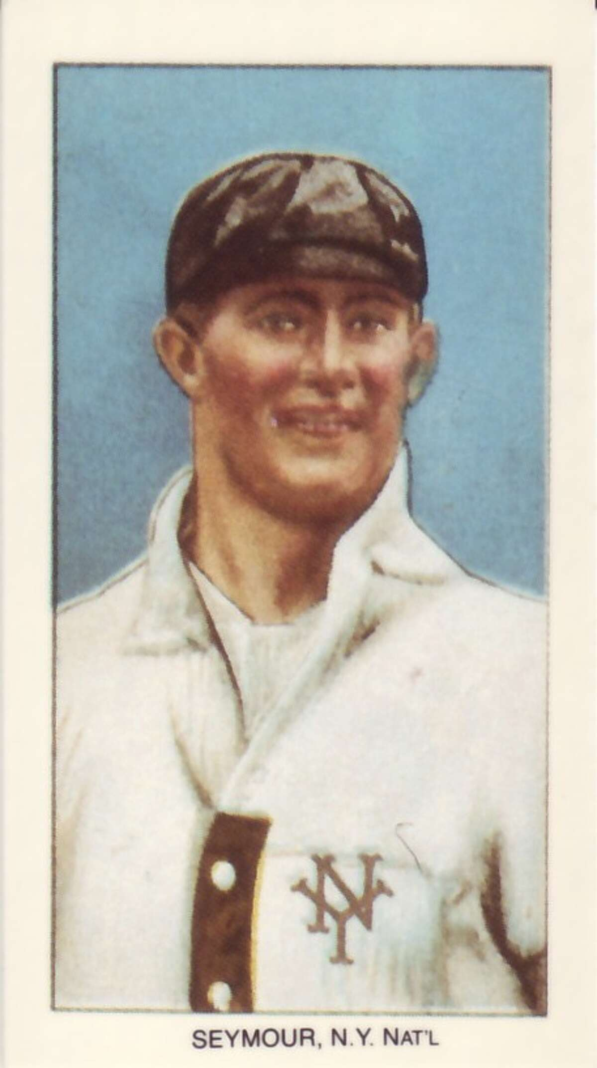 """James Bentley """"Cy"""" Seymour (1878-1919) 1909-1911 T206 White Border tobacco card produced by the American Tobacco Trust. Published with permission from """"The T206 Collection: The Players & Their Stories"""" by Tom and Ellen Zappala."""