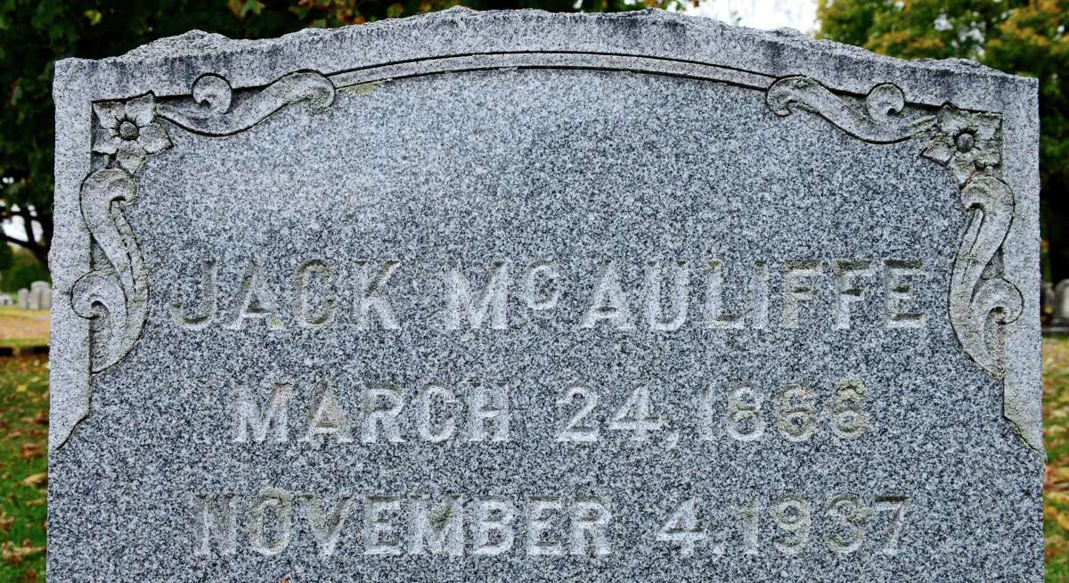 The headstone of Jack McAuliffe is pictured Saturday, Oct. 26, 2013, in section 15 of Albany Rural Cemetery in Menands, N.Y. McAuliffe was a world lightweight champion boxer who retired in 1893 with an undefeated record of 32-0. He was one of first to be inducted into the Boxing Hall of Fame. (Will Waldron/Times Union)