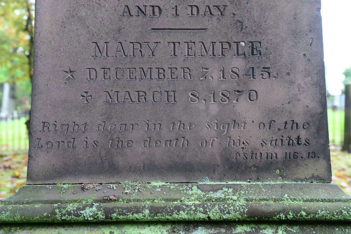 The grave of Mary Temple in the James family plot at Albany Rural Cemetery in Menands, N.Y. (Will Waldron/Times Union)