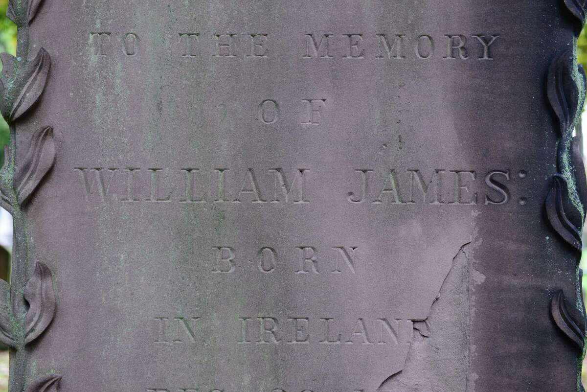 The grave of William James in the James family plot at Albany Rural Cemetery in Menands, N.Y. (Will Waldron/Times Union)