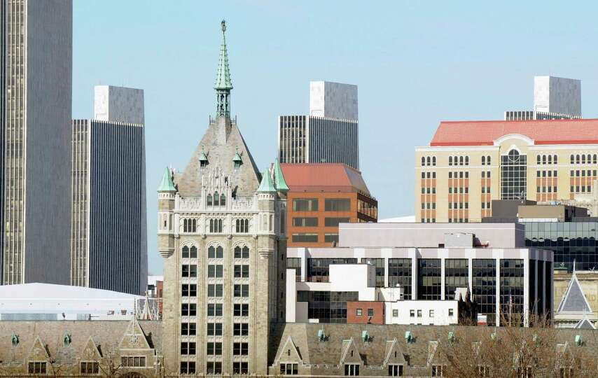 View of the Albany skyline, which includes the Delaware & Hudson Building, pictured foreground. The