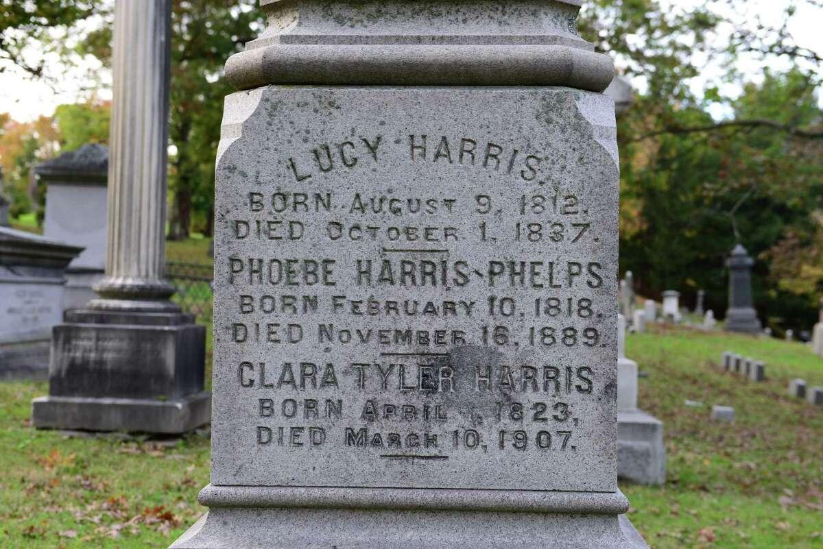 The gravestone of Phoebe Harris Phelps.