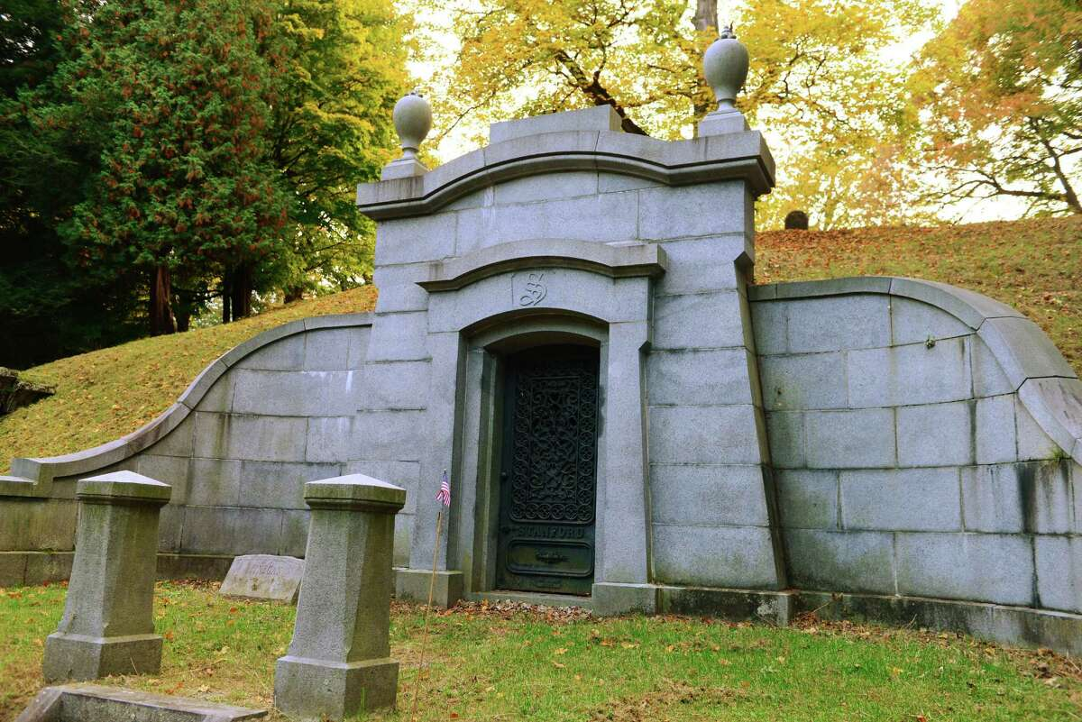 Burial vault of Josiah and Elizabeth Phillips Stanford, the parents of railroad magnate Leland Stanford, who purchased this mausoleum and a monument nearby for his parents-in-law, the Lathrops.. (Will Waldron/Times Union)
