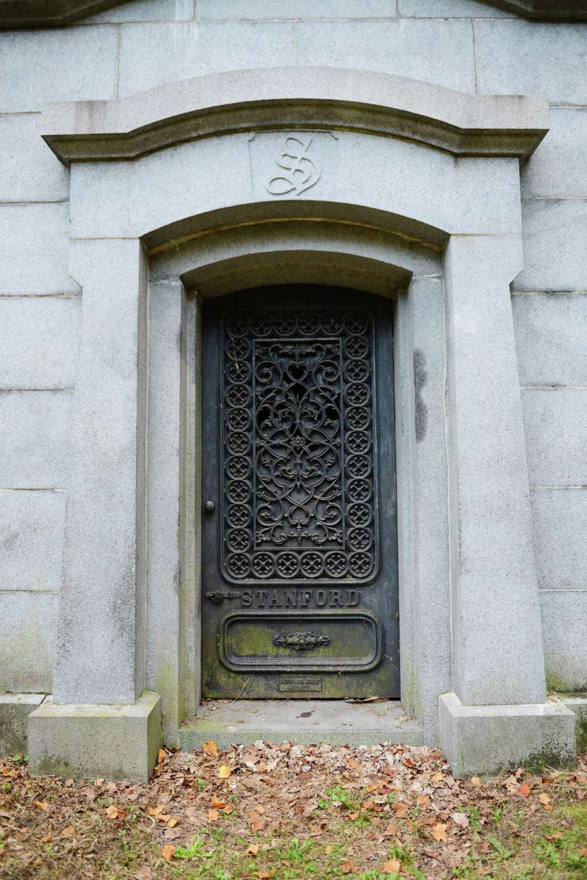 Door to the burial vault Josiah and Elizabeth Phillips Stanford, the parents of railroad magnate Leland Stanford, who purchased this mausoleum and a monument nearby for his parents-in-law, the Lathrops. (Will Waldron/Times Union)