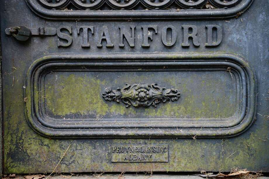 Door to the burial vault of Josiah and Elizabeth Phillips Stanford, the parents of railroad magnate Leland Stanford, who purchased this mausoleum and a monument nearby for his parents-in-law, the Lathrops.. (Will Waldron/Times Union) Photo: WW / 00023993A