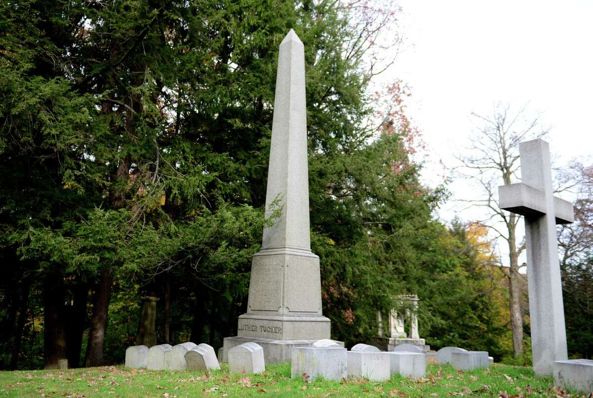 Tucker family plot where Titanic survivor Gilbert M. Tucker is buried in section 19 of Albany Rural Cemetery. (Will Waldron/Times Union)