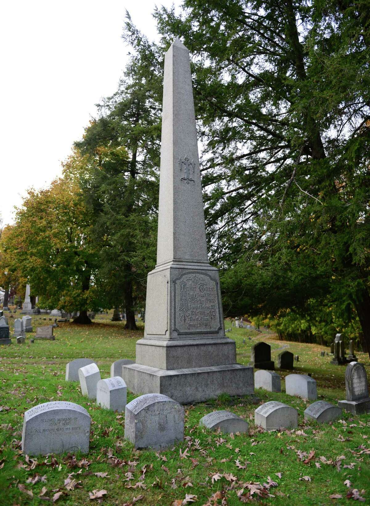 Tucker family plot where Titanic survivor Gilbert M. Tucker is buried in section 19 of Albany Rural Cemetery in Menands, N.Y. Tucker died in 1968. (Will Waldron/Times Union)