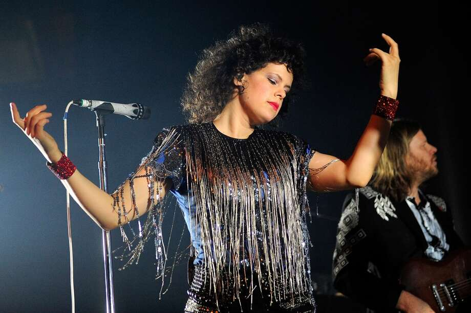 LONDON, ENGLAND - NOVEMBER 11:  Régine Chassagne of Arcade Fire, playing under the pseudonym The Reflektors, performs at The Roundhouse on November 11, 2013 in London, England.  (Photo by Matt Kent/WireImage) Photo: Matt Kent, WireImage