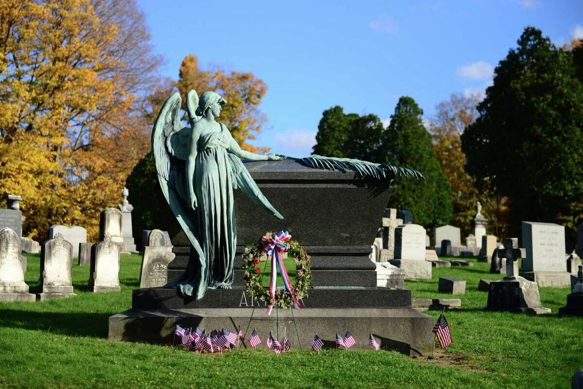 A bronze angel statue watches over the polished black granite sarcophagus of President Chester Alan Arthur in Albany Rural Cemetery. The grave is perhaps the cemetery?s greates claim to fame.. (Will Waldron/Times Union)