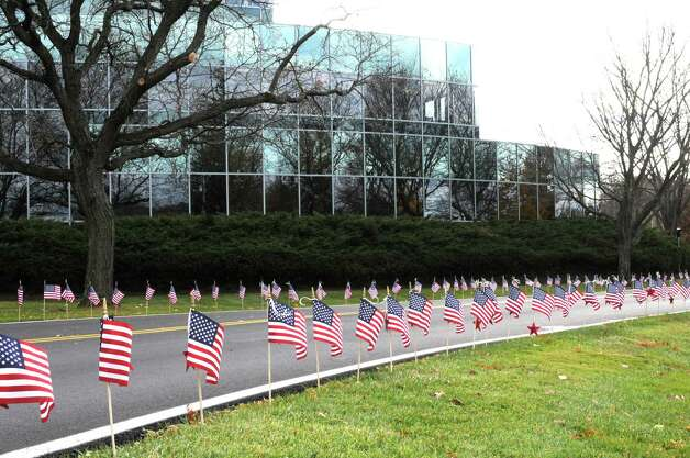The staff of the Farm Family Insurance Co. building on Route 9W in Glenmont did their part to remember veterans this week as they placed about 500 U.S. flags outside the building. (Jim Schrader) / James C. Schrader