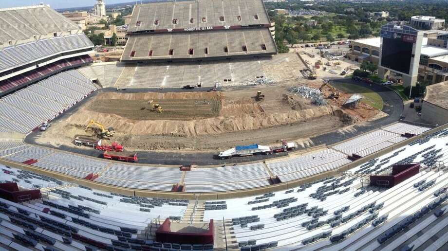 Construction crews have removed the grass football playing surface at Texas A&M's Kyle Field in College Station. It's part of the first stage of the multi-million dollar renovation of the stadium. Photo: Courtesy Photo, Texas A&M Athletics