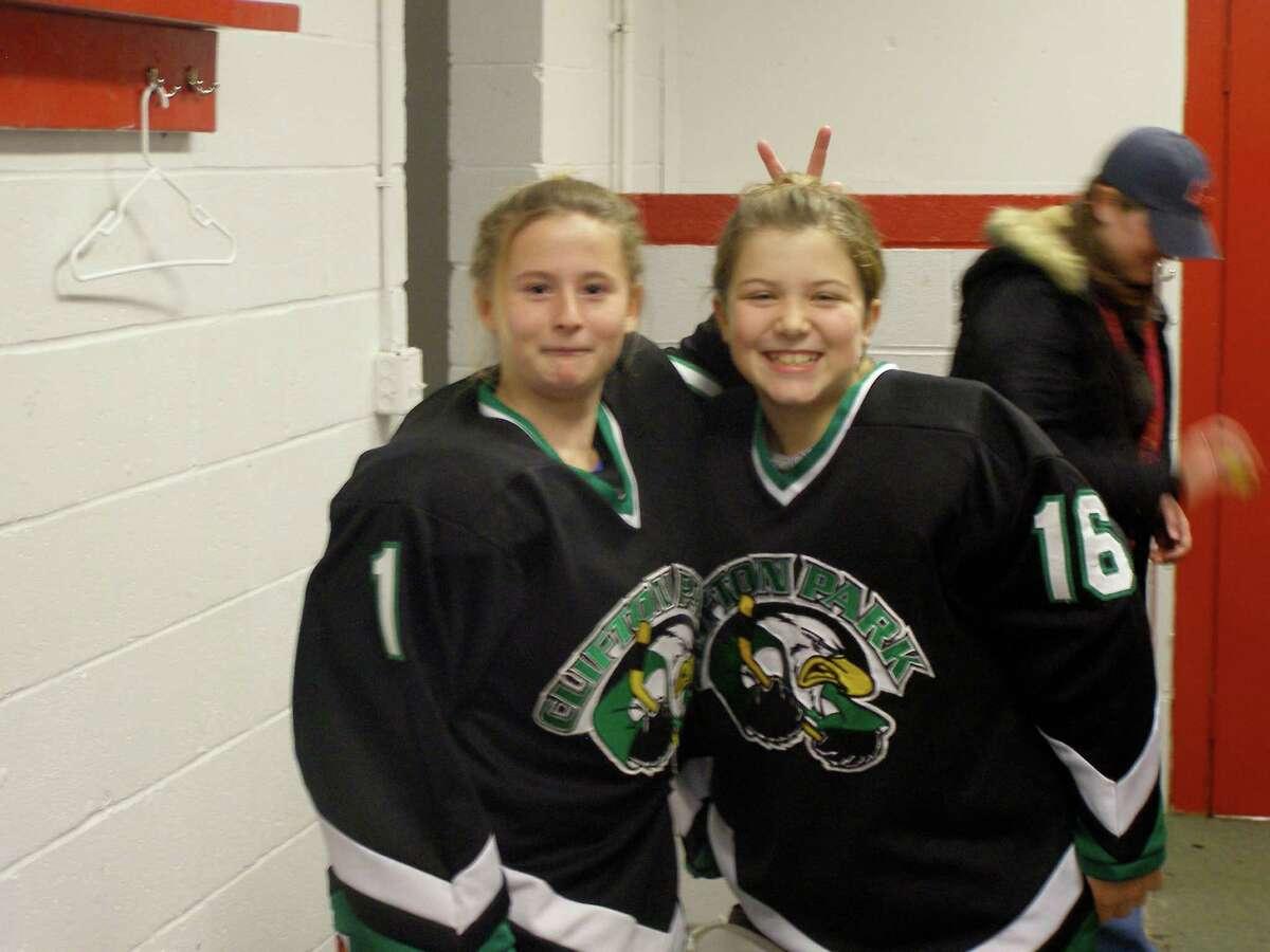 Longtime friends Nicole Beardsley, left, and Claire Virkler have been ice-hockey teammates since childhood. (Courtesy the Virkler family)