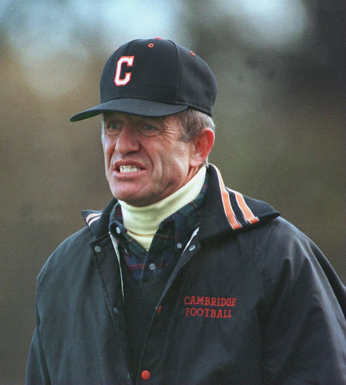 Times Union Staff Photo by LUANNE M. FERRIS. NOVEMBER 4, 1995. CAMBRIDGE FOOTBALL COACH KEN BAKER AT SECTION II CLASS C CHAMPIONSHIP.
