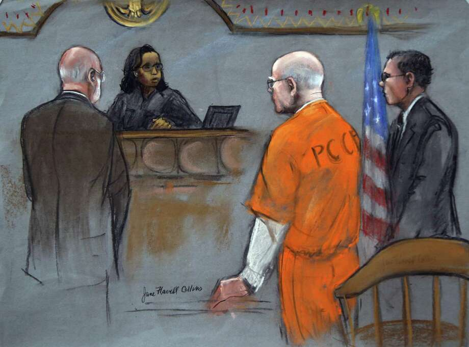 """Former Boston crime boss James """"Whitey"""" Bulger, flanked by defense attorneys J.W. Carney Jr. (left) and Hank Brennan, is seen in a courtroom sketch as he is pronounced guilty by Judge Denise Casper. Photo: Jane Flavell Collins / Associated Press"""