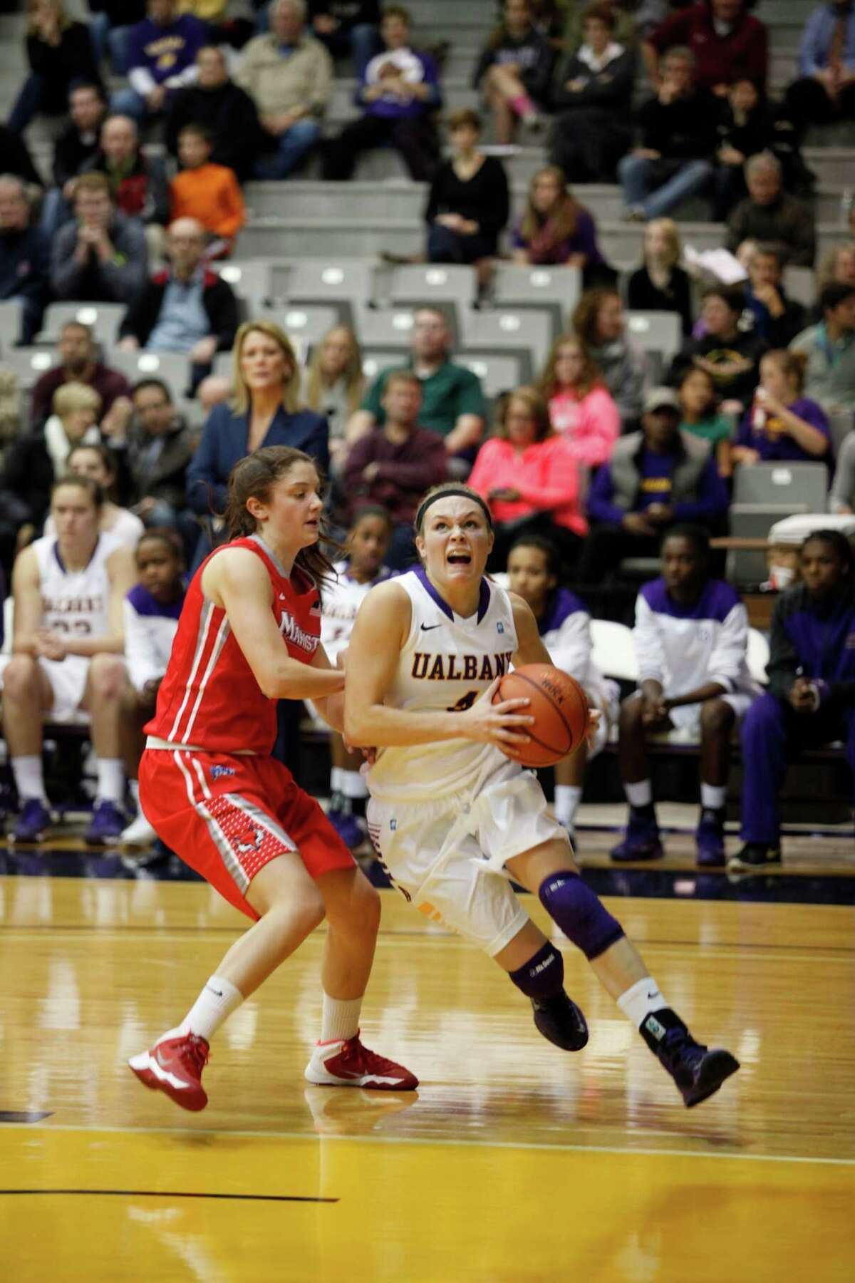 UAlbanyOs Sarah Royals aggressively goes in for a layup during the womenOs college basketball game against Marist at the SEFCU Arena on Thursday, Nov. 14, 2013 in Albany, N.Y. (Dan Little / Special to the Times Union)