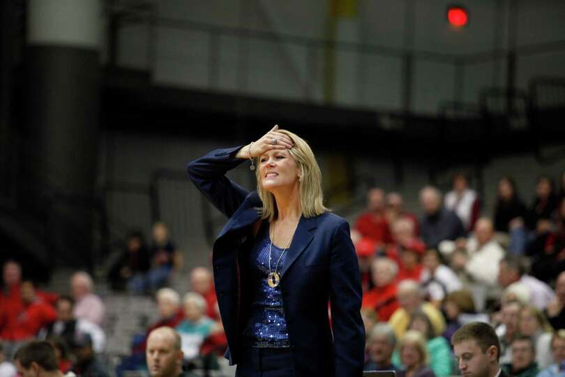 UAlbanyOs head coach Katie Abrahamson-Henderson reacts to a call during the womenOs college basketba