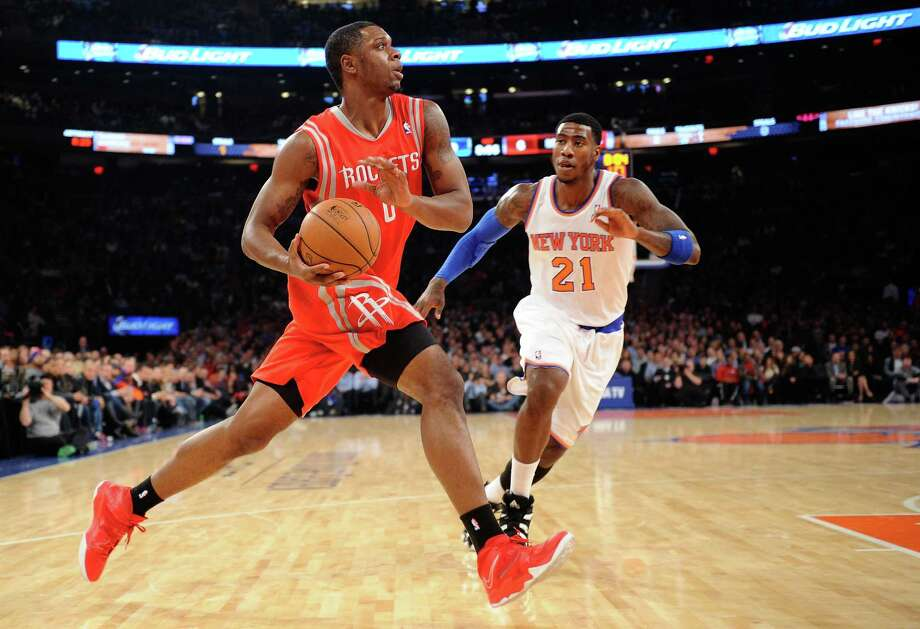 The Rockets' Terrence Jones drives past Iman Shumpert in a win vs. the Knicks at Madison Square Garden. Houston has won eight straight against New York. Photo: Maddie Meyer / Getty Images