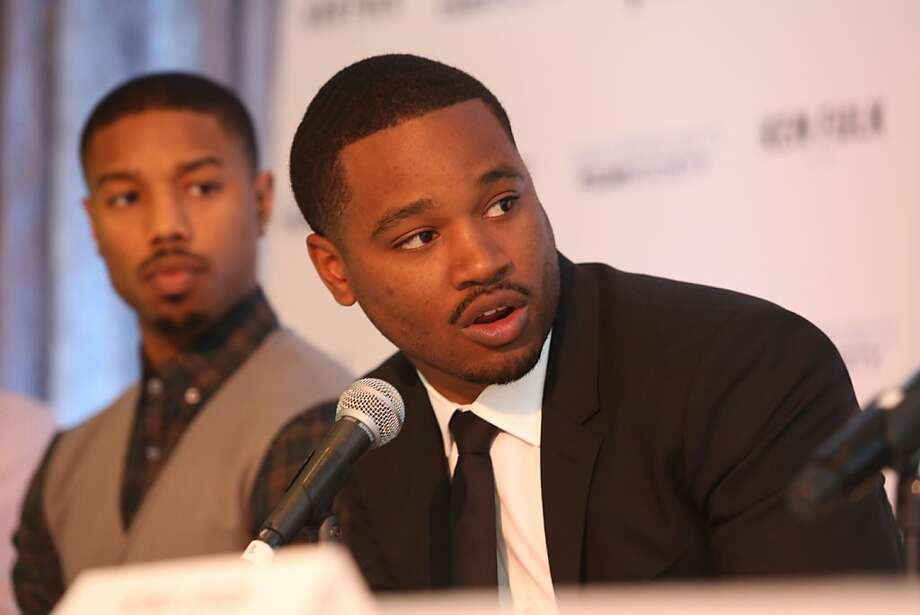 Filmmaker Ryan Coogler (Fruitvale Station) answers a question as actor Michael B. Jordan (Fruitvale Station) listens at a news conference at the San Francisco Film Society's Inaugural Fall Celebration in San Francisco on Thursday, Nov. 14, 2013. Photo: Mathew Sumner, Special To The Chronicle