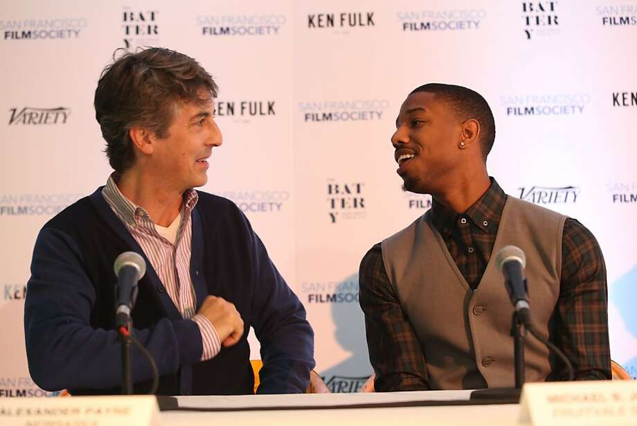 Filmmaker Alexander Payne, left, and actor Michael B. Jordan (Fruitvale Station) talk at the start of a news conference at the San Francisco Film Society's Inaugural Fall Celebration in San Francisco on Thursday, Nov. 14, 2013. Photo: Mathew Sumner, Special To The Chronicle
