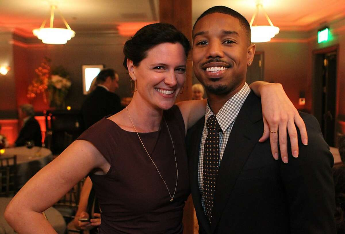 Fruitvale Station star Michael B. Jordan and actress Jennifer Lafluer pose for a photograph at the San Francisco Film Society's Inaugural Fall Celebration in San Francisco on Thursday, Nov. 14, 2013.
