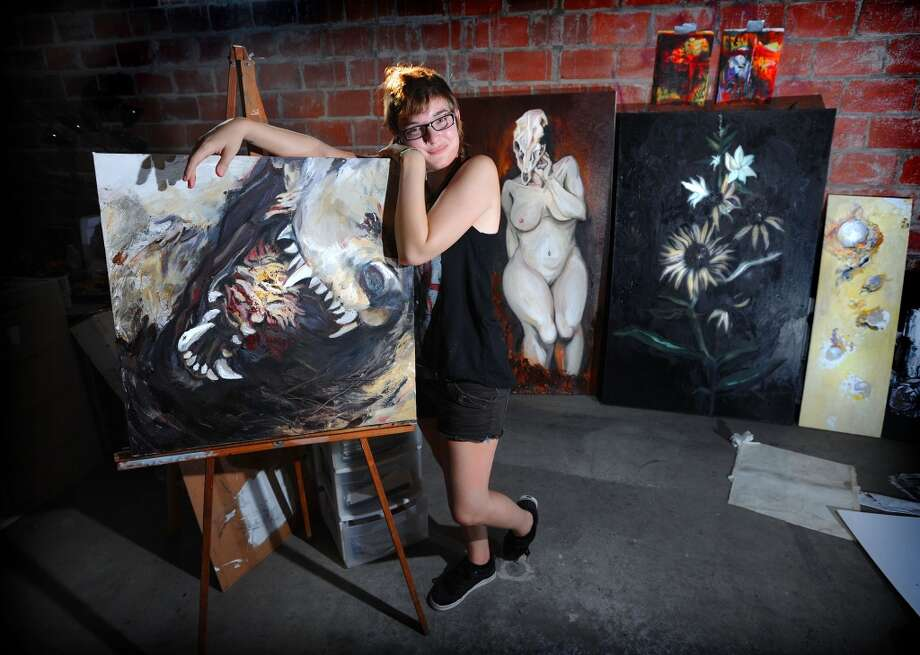 Kailee Viator in her space at the Art Studio Photo taken Wednesday, August 22, 2012 Guiseppe Barranco/The Enterprise Photo: Guiseppe Barranco/The Enterprise