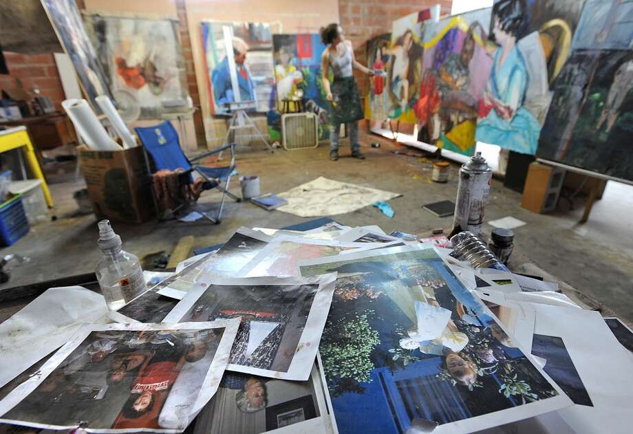 Abigail Mclaurin works in her space at the Art Studio Photo taken Wednesday, August 22, 2012 Guiseppe Barranco/The Enterprise Photo: Guiseppe Barranco/The Enterprise