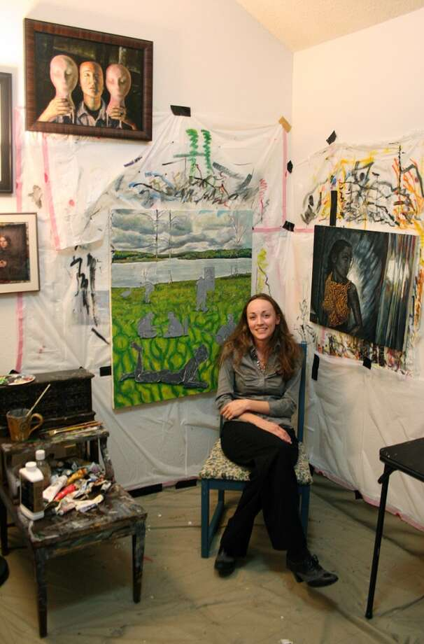 Artist Cynthia Perkins in her studio. Photo courtesy of The Art Studio, Inc.