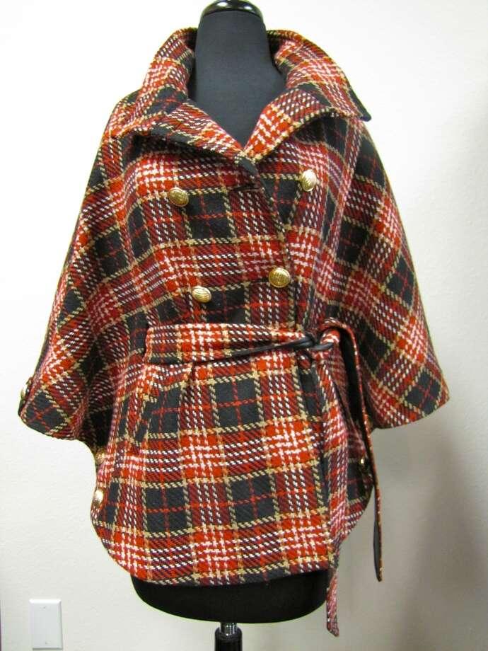 Plaid tie-waist cape, $149.99, LUXE Boutique, Beaumont Photo: Cat5